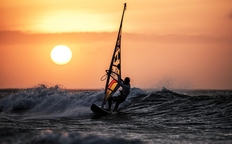 windsurfing-sunset-ocean-waves